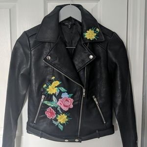 Romeo+Juliet Moto Leather Jacket Embroidery Black